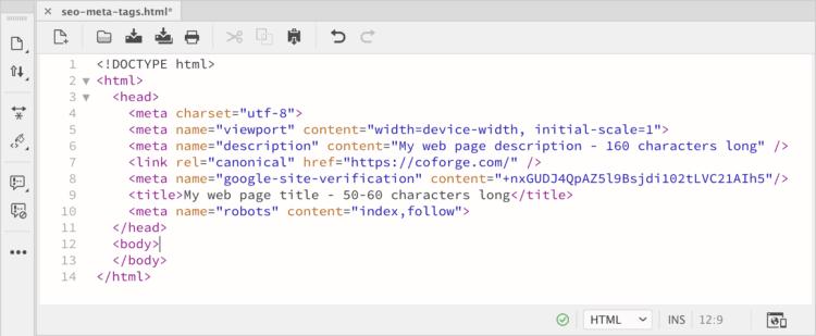 Meta title in html code.